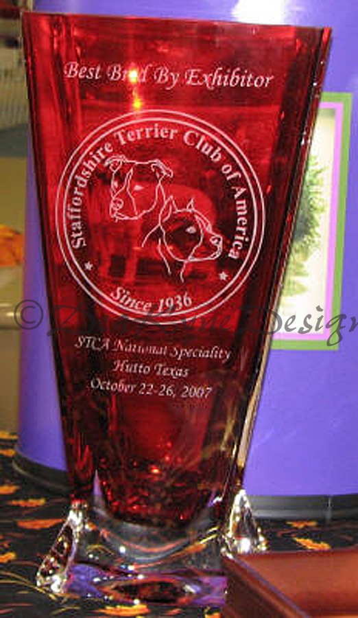 STCA National Amstaff Trophy - Etched Crystal Vase