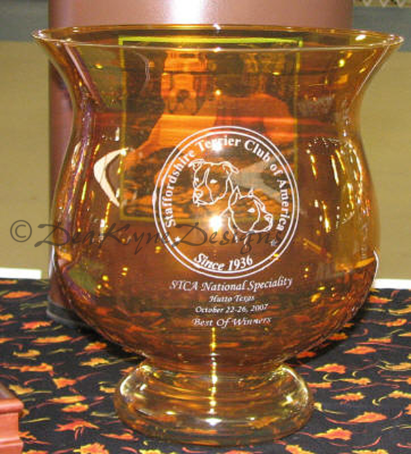 STCA National Amstaff Trophy - etched glass vase