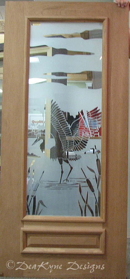 Etched Glass Egret Door