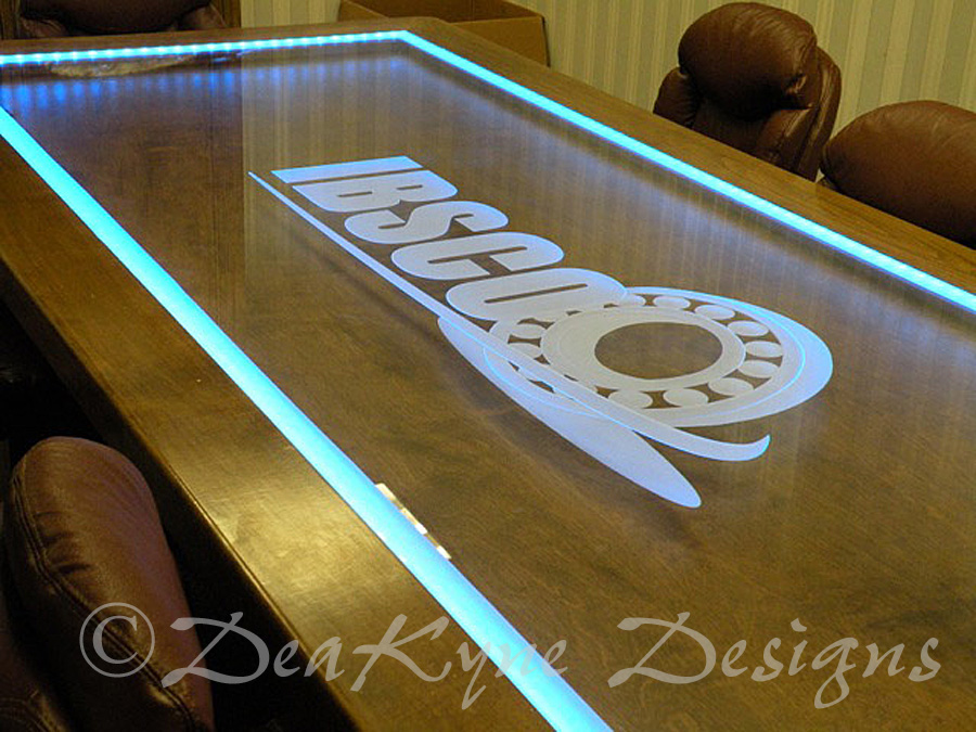 Etched Glass Conference Table - Sculpted/carved logo