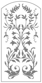 Arched Door Pattern - Vine san antonio etched glass, austin etched glass