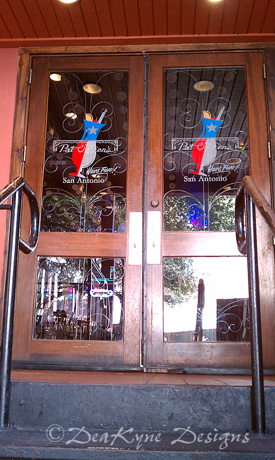 Etched Glass Doors - Carved and Painted