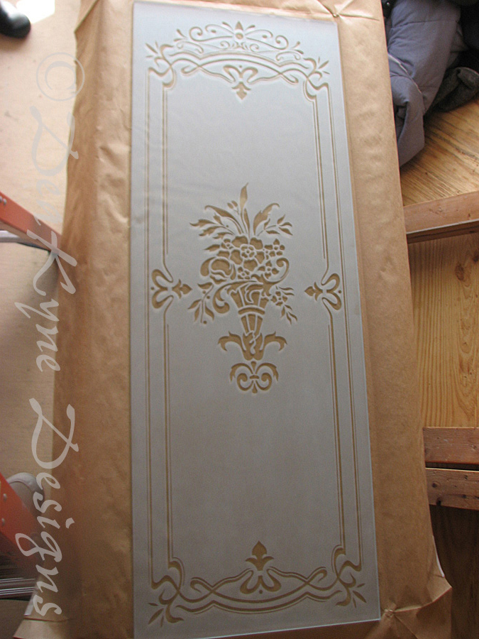 Victorian Etched Glass Door Insert